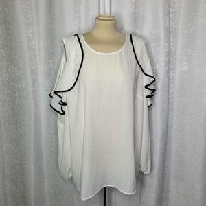 Lane Bryant open sleeve ruffle blouse